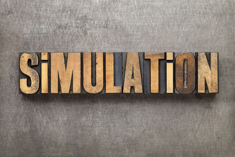 simulation spelled out in printer's blocks (photo)